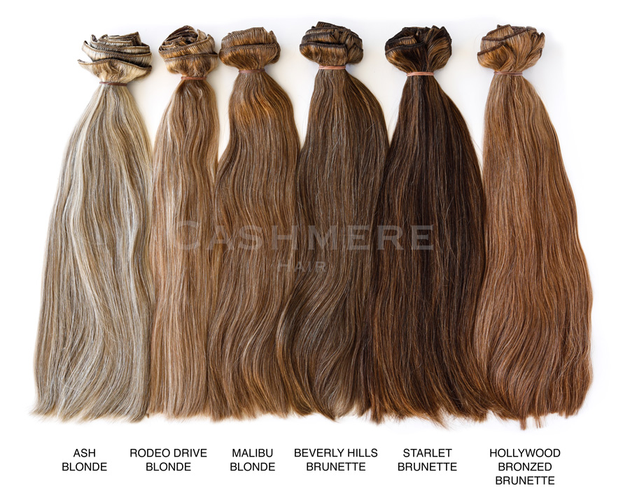 shades of brunette chart: Cashmere hair extensions color chart